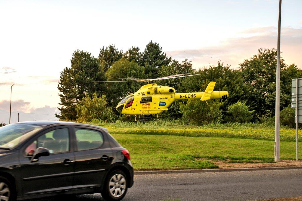 Yorkshire Air Ambulance Dodges Lamp posts on Roundabout